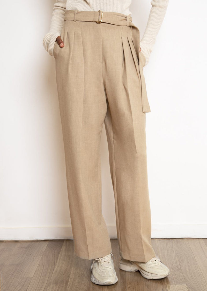 Belted Suit Pants in Wheat Pants The Frankie Shop