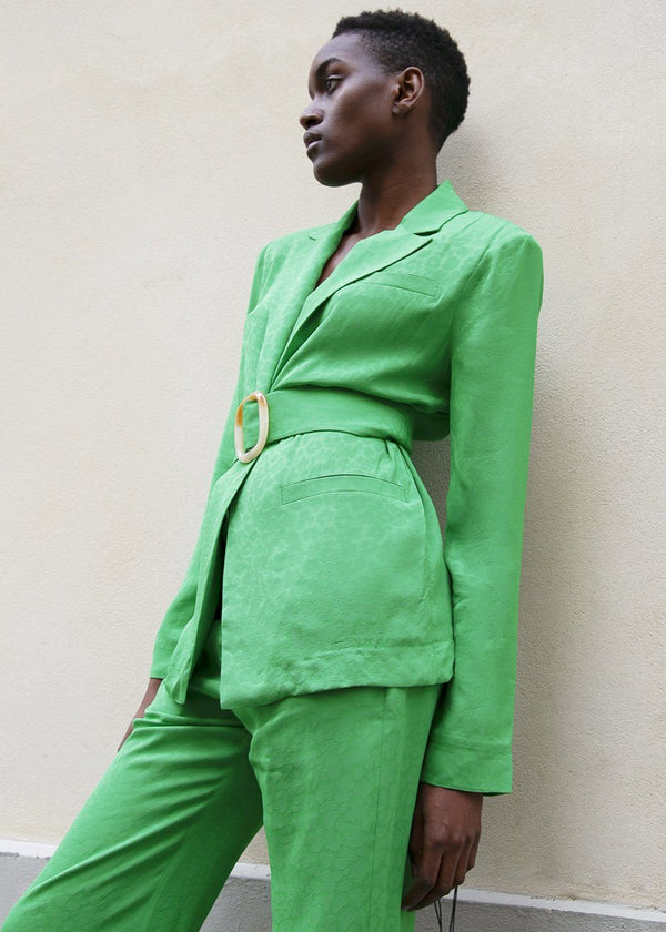 Belted Tone on Tone Green Leopard Print Blazer By Materiel Tbilisi Blazer Materiel Tbilisi