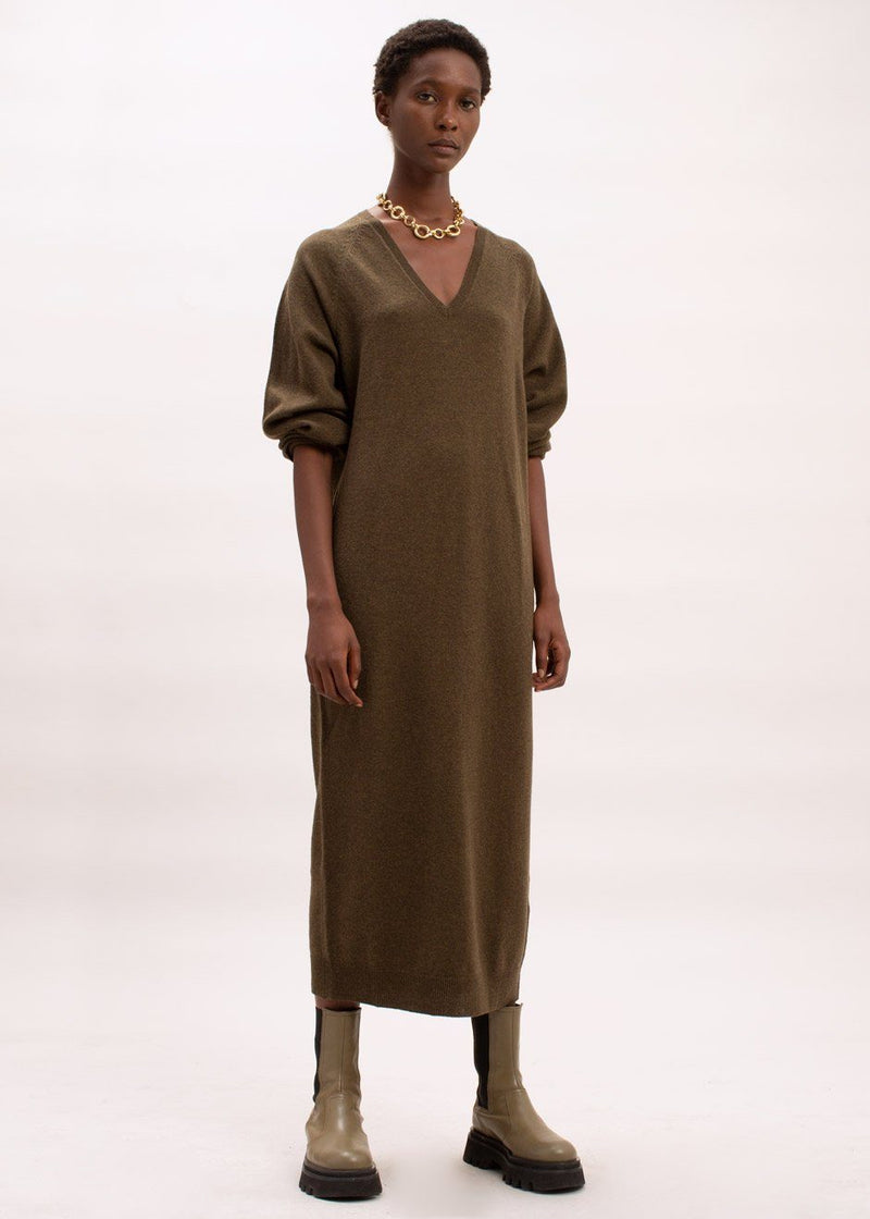 Beni Knit Dress by Remain Birger Christensen in Military Olive Dress Remain
