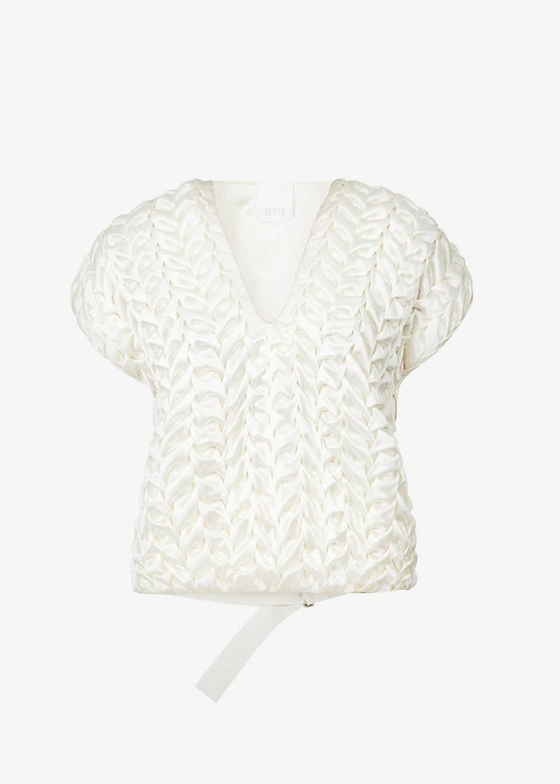 Bevza Spikelet Silk Top in Champagne Top bevza