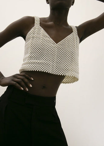 Bevza White Pearl Cropped Top Top bevza