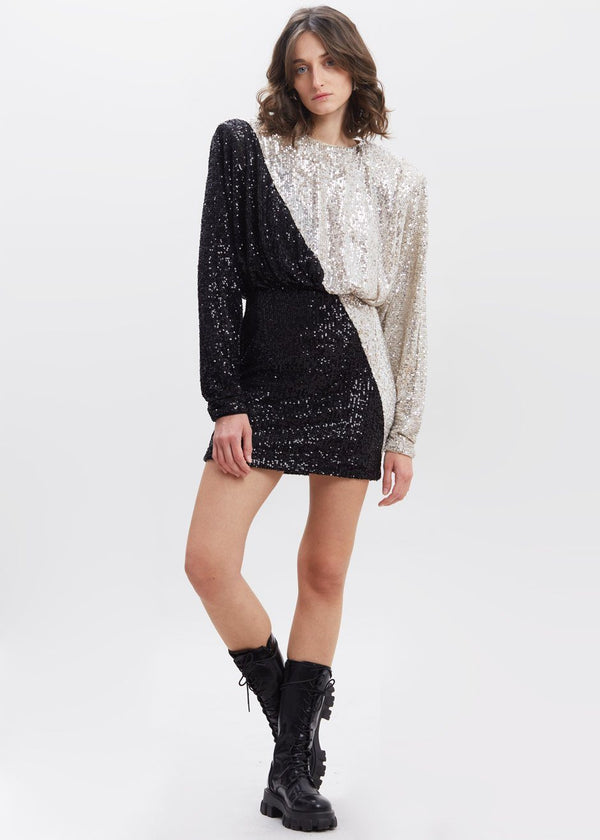 Billie Short Dress by ROTATE in Silver Combo Dress Rotate