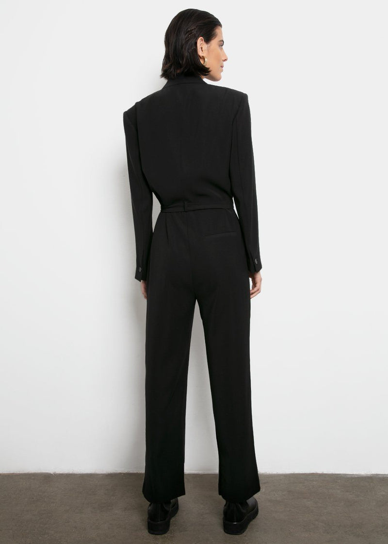 Black Belted Jumpsuit w/Padded Shoulders Jumpsuit Blossom