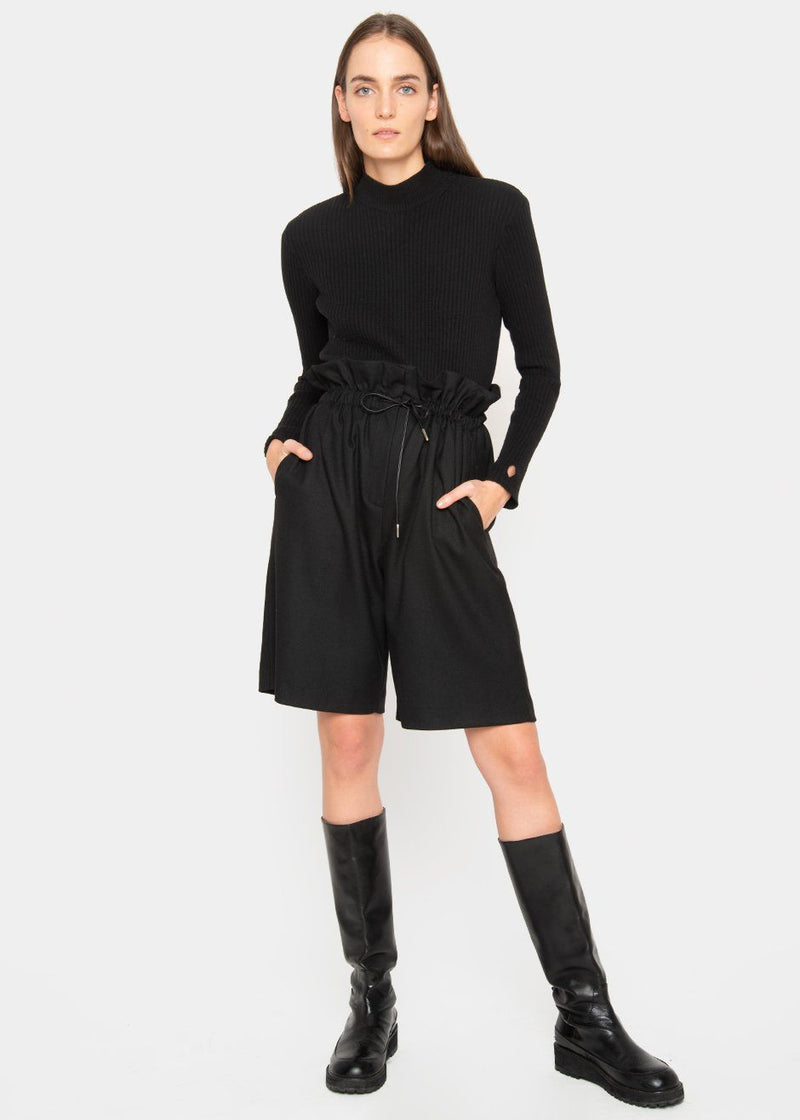 Black Drawstring Bermuda Shorts shorts Cafe Noir