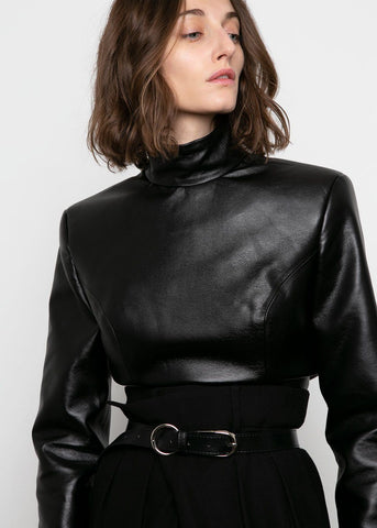 Black Faux Leather Mock Neck Top by Materiel Tbilisi Top Materiel Tbilisi