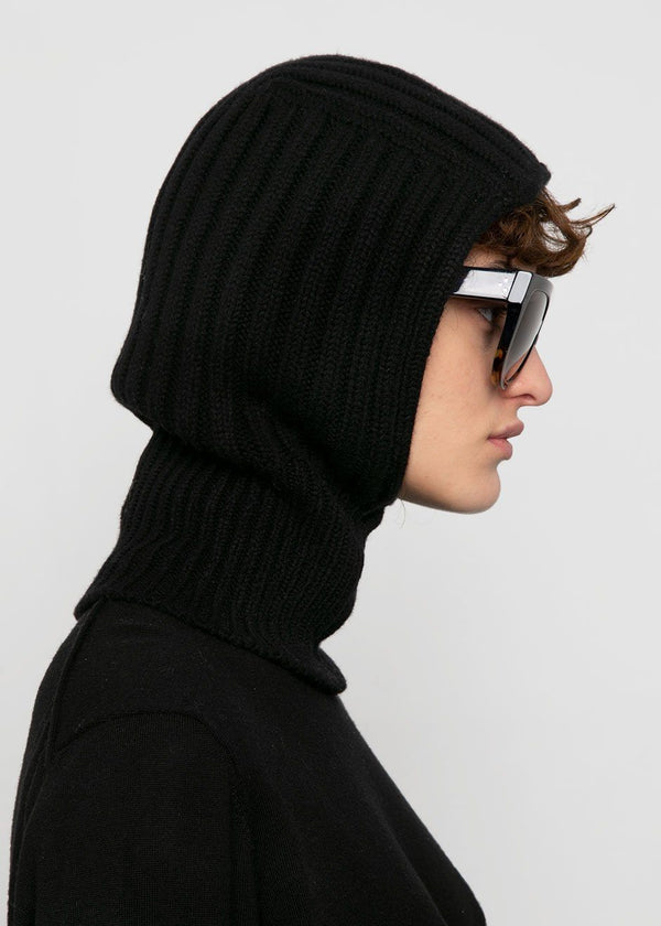 Black Knit Wool Balaclava Hat L'art