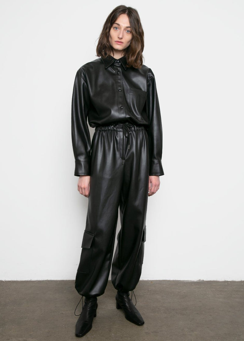 Black Leather Cargo Pants Pants L'art
