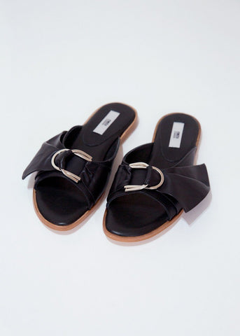 Black Leather Slide Sandals By Miista Shoes Miista