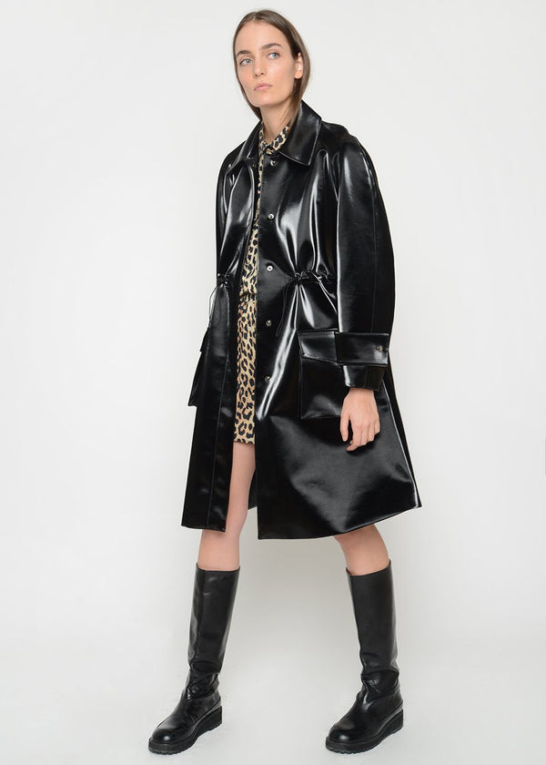Black Patent Drawstring Parka Coat Cafe Noir