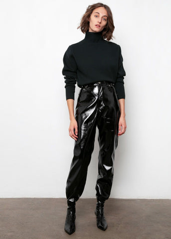 Black Patent Flared Pants Pants Repeller