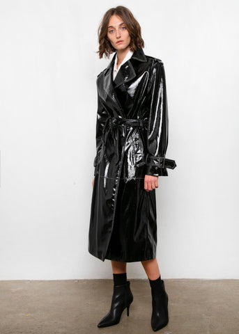 Black Patent Trench with White Topstitch trench Repeller