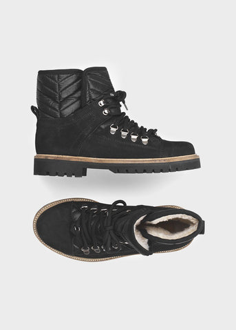 Black Shearling Hiking Boots by Ganni Shoes Ganni