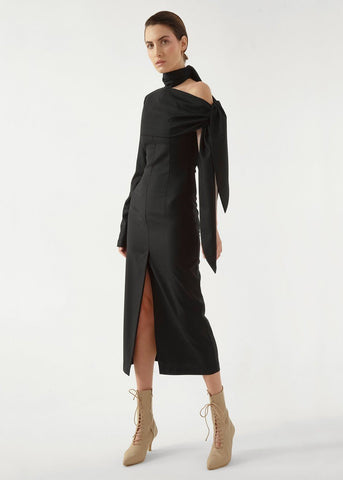 Black Wool Open Shoulder Dress by Materiel Tbilisi Dress Materiel Tbilisi
