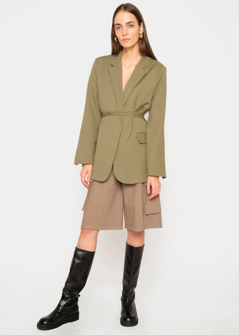 Blazer with Thin Wrap Belt- Olive Green Blazer Kare