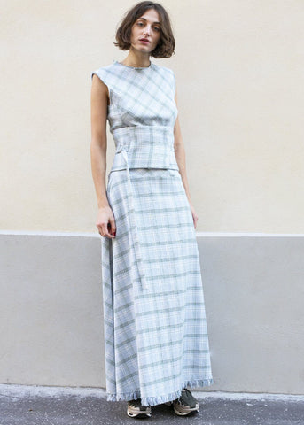 Blue Check Safra Dress by Eudon Choi DRESS Eudon Choi