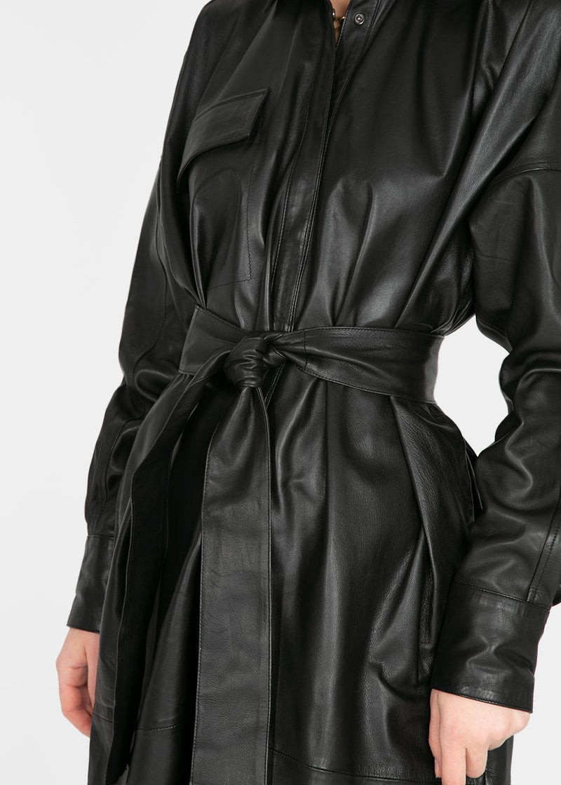 Bologna Belted Leather Shirt Dress by Remain Birger Christensen- Black Dress Remain