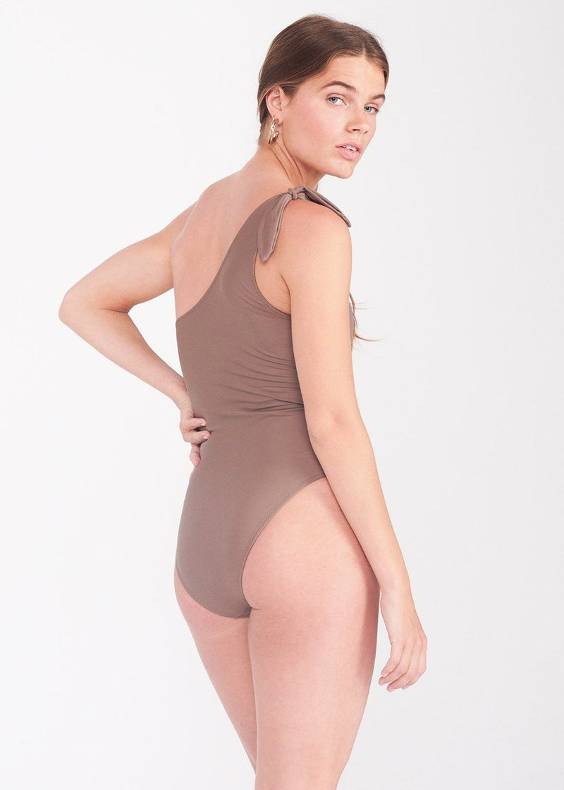 bower one shoulder taupe bathing suit swimsuit Lido