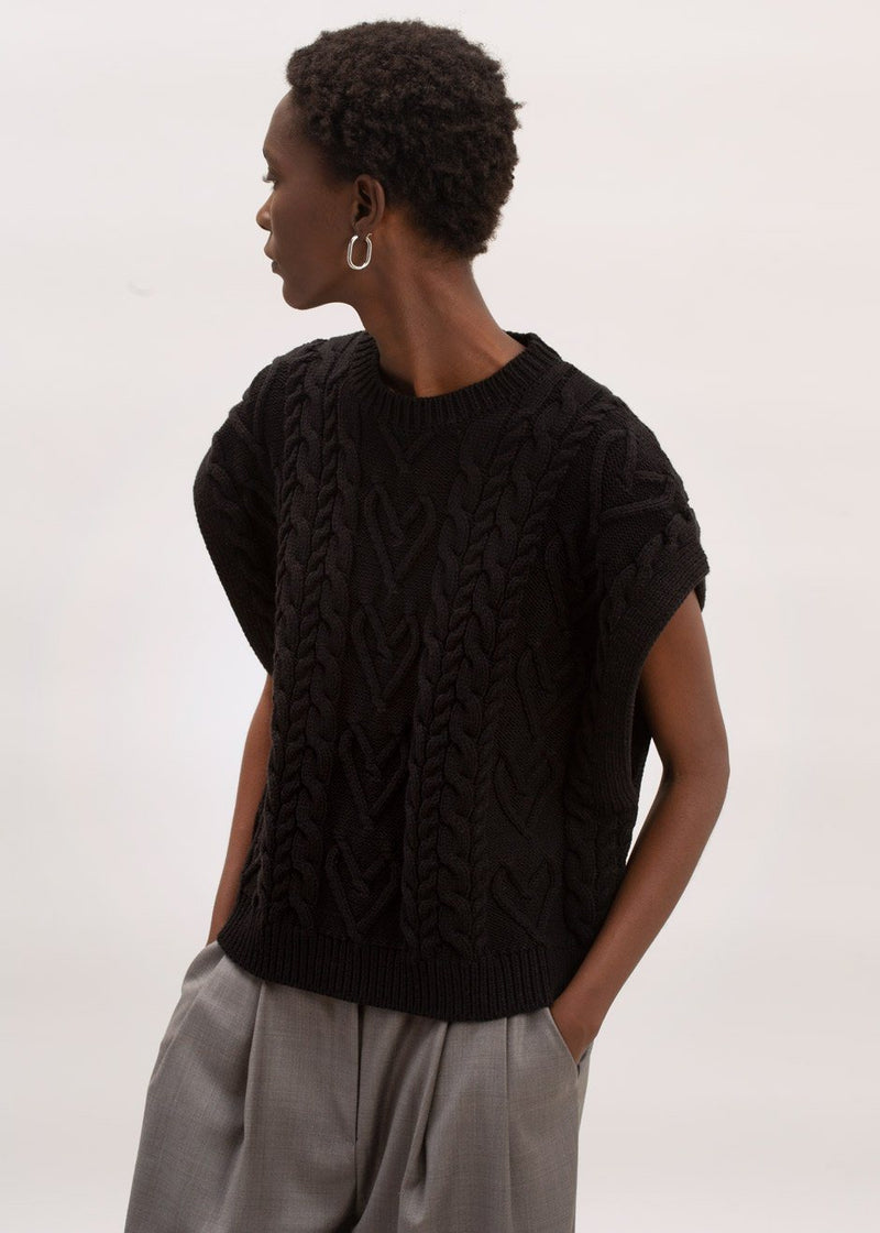 Boxy Cable Knit Sweater Vest in Black Vest 6Pence