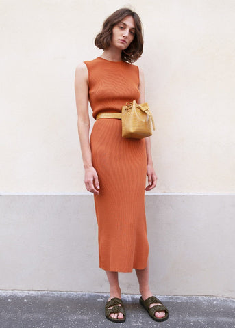 Brick Ribbed Knit Sleeveless Tube Dress Dress London Flat