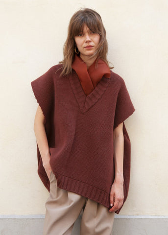 Brick Sleeveless Sweater with Silk Scarf by Ter et Bantine top Ter et Bantine
