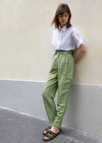 Bright Olive Green Cargo Pants with Wooden Tabs Pants Jerry Hall
