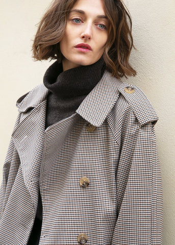 Brown & Black Checked Plaid Belted Trench Coat Kiki Love