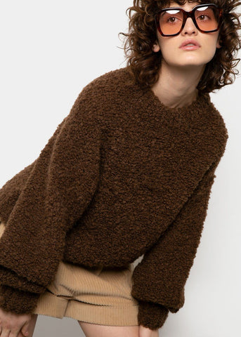 Brown Boucle Mock Neck Sweater Sweater 2two moon