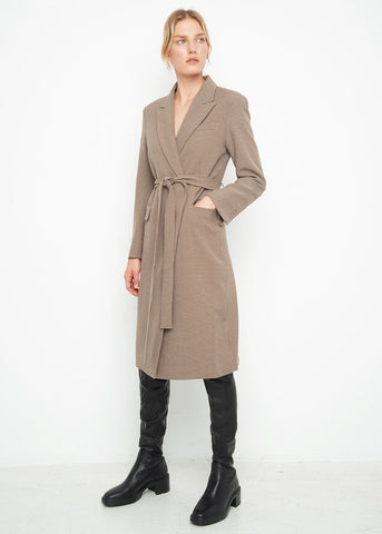 Brown Houndstooth Belted Long Topcoat Coat Blossom
