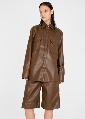 Brown Leather Pockets Shirt by Studio Cut Shirt Studio Cut