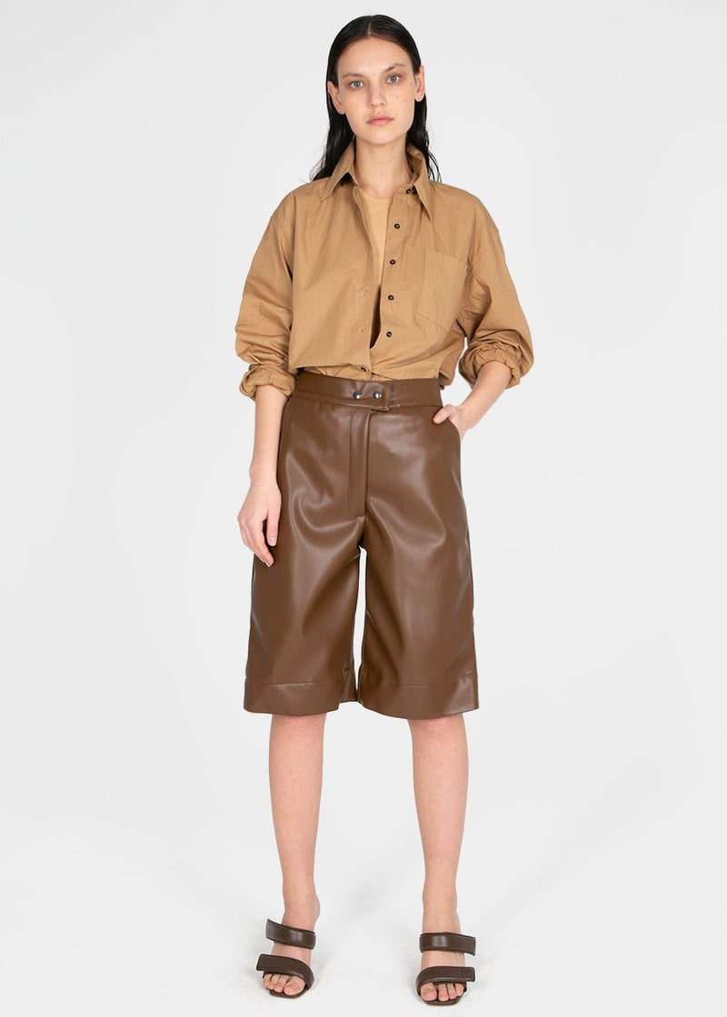 Brown Leather Trouser Shorts by Studio Cut Shorts Studio Cut