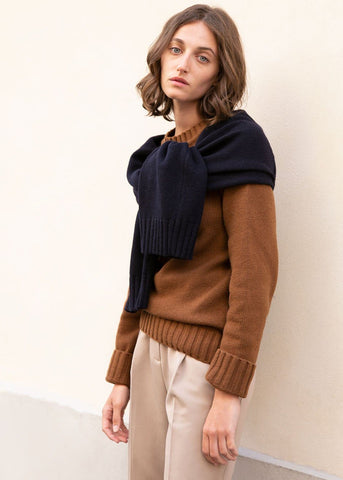 Brown & Navy Fini Sleeves Sweater by Eudon Choi Sweater Eudon Choi