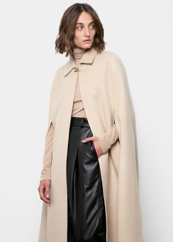 Buff Beige Woolen Cape Coat Coat Bar