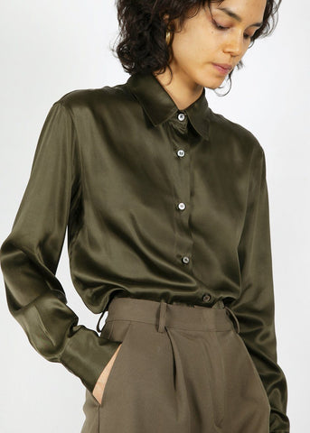 Button Front Silky Shirt in Dark Moss Shirt Blossom