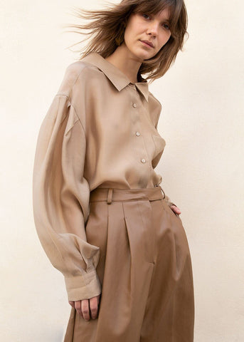 Button Side Sheen Blouse in Khaki Brown shirt More than Yesterday