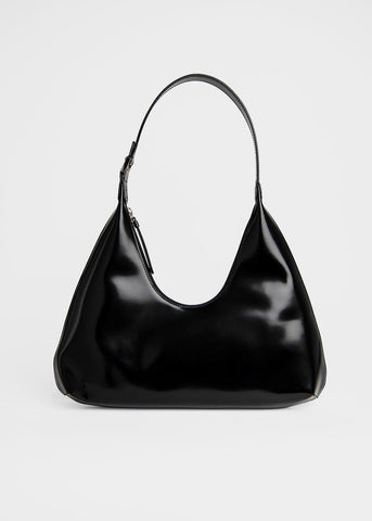 By Far Amber Bag in Semi Patent Leather- Black Bags By Far
