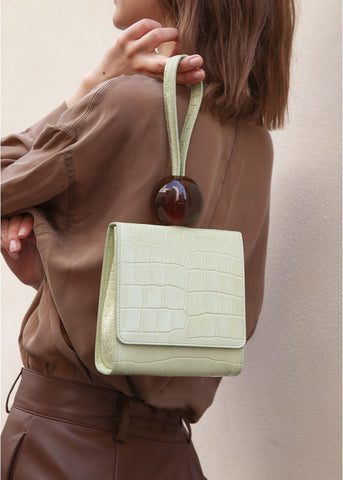 By Far Ball Clutch Bag in Sage Green Croc Leather Bag By Far