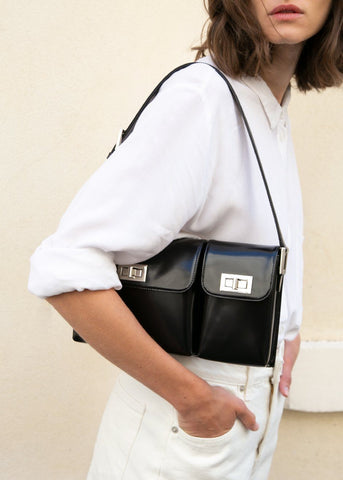 By Far Billy Bag in Semi Patent Leather- Black Bags By Far