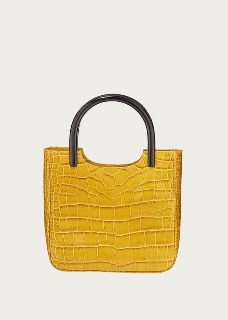 By Far Eric Embossed Croc Bag in Yellow Bag By Far