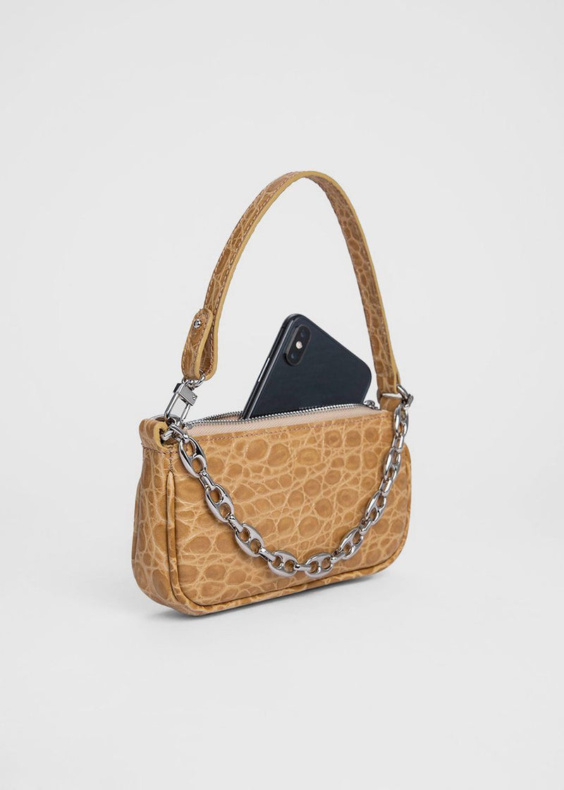By Far Mini Rachel Bag- Nude Croco Embossed Leather Bag By Far
