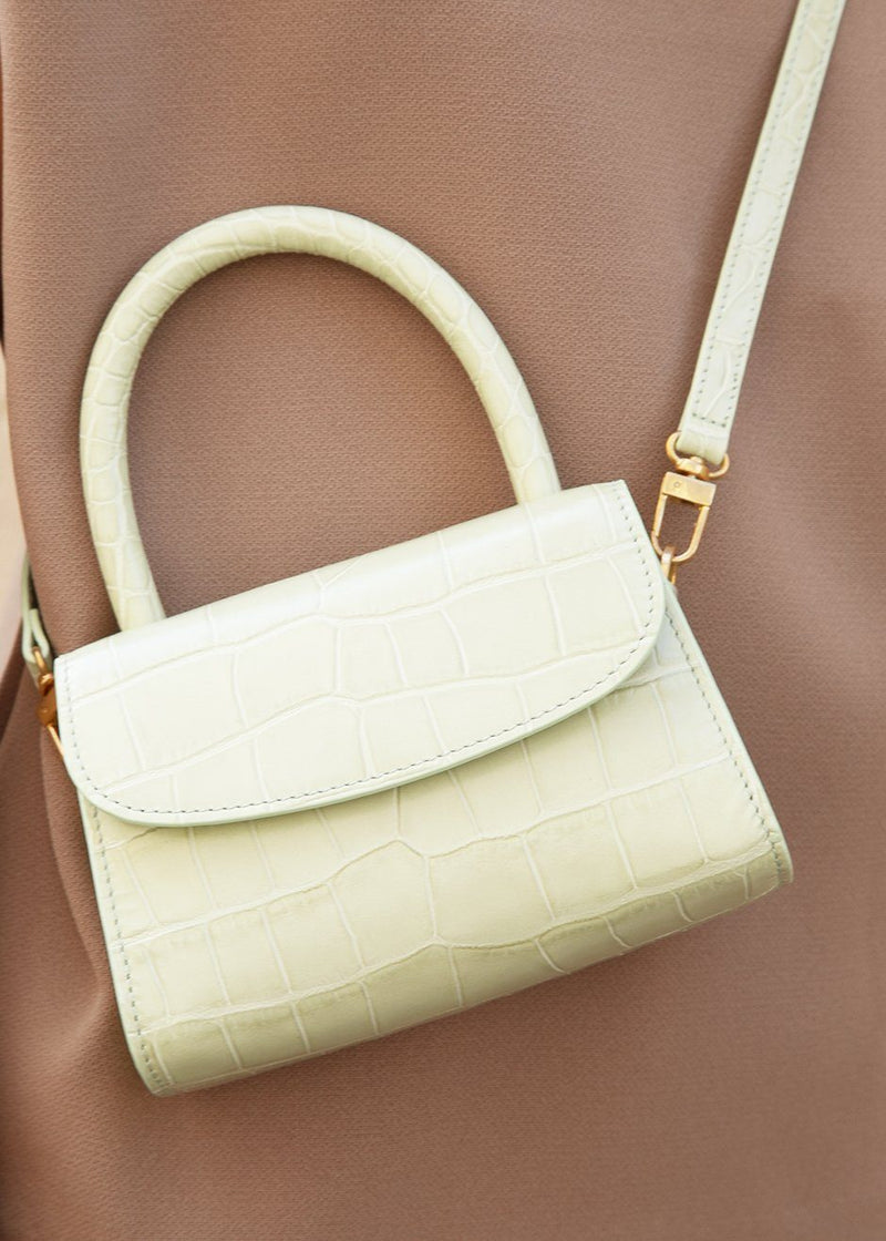 By Far Mini Sage Green Bag in Croc Embossed Leather Bags By Far