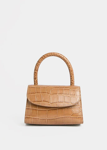 By Far Mini Taupe Bag in Croc Embossed Leather Bags By Far