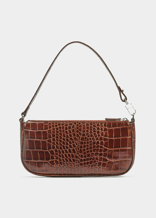 By Far Rachel Bag in Nutella Croc Embossed Leather Bag By Far