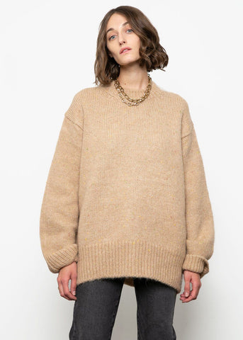 Camel Crew Neck Oversized Sweater Sweater L'art