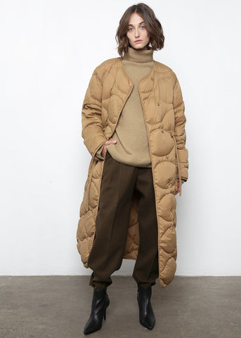 Camel Quilted Long Puffy Coat Coat Posh
