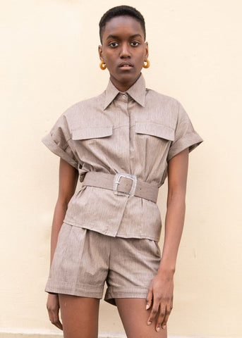 Cap Sleeve Belted Shirt in Flecked Brown Shirt Rolling Paper