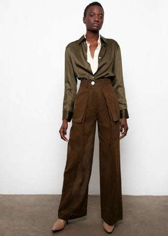 Carmela Trousers by Eudon Choi- Brown Pants Eudon Choi
