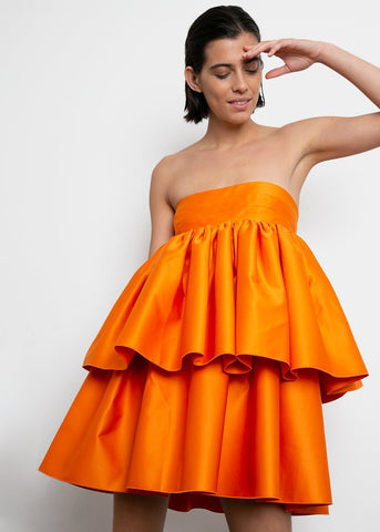 Carmina Strapless Dress by ROTATE- Persimmon Orange Dress rotate