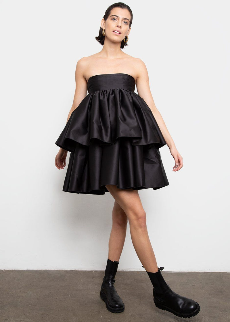 Carmina Strapless Dress by ROTATE- Pirate Black Dress Rotate