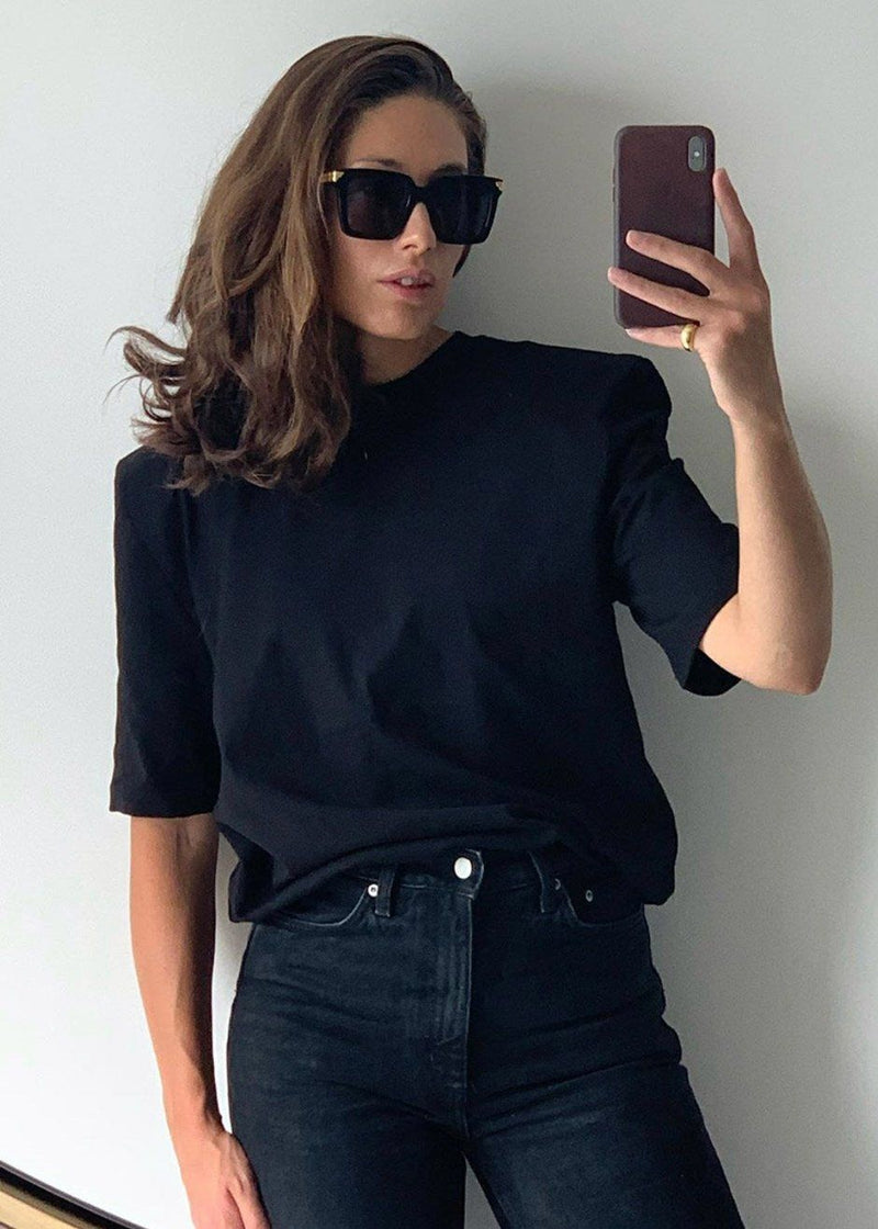 Carrington Padded Shoulder Tee in Black top The Frankie Shop