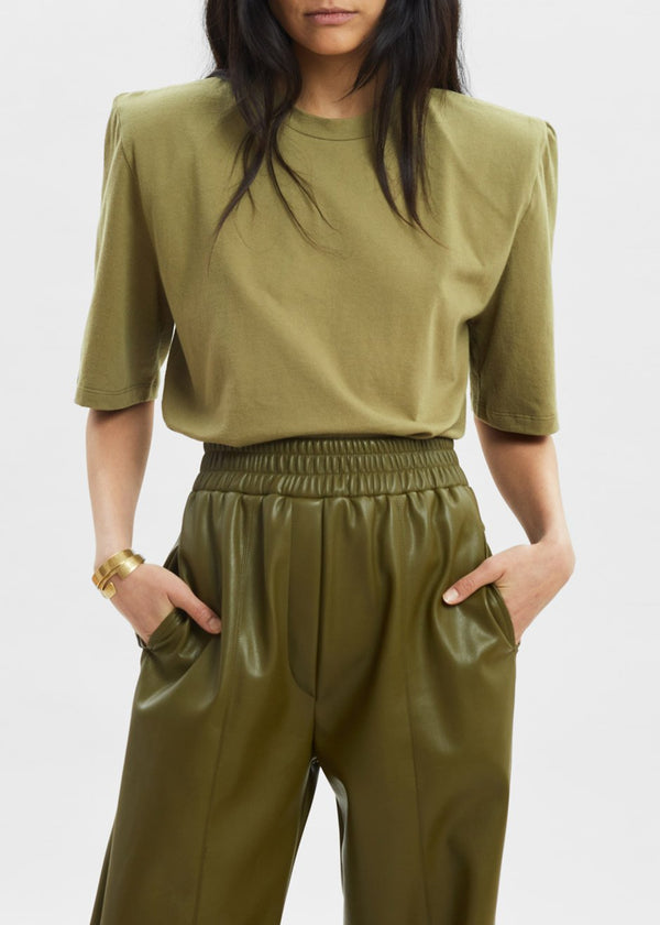 Carrington Padded Shoulder Tee in Martini Olive top The Frankie Shop